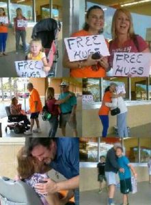 Collage of church members giving free hugs